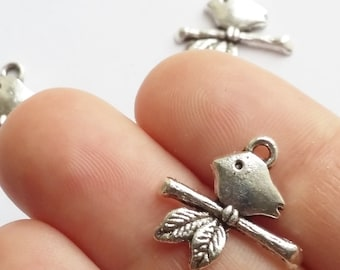 25pcs Bird On Branch Charms - Antique Silver Jewelry Supplies - B0081022