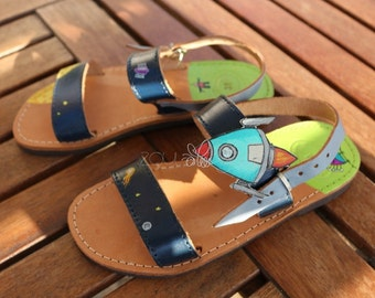 Boy's sandals, space sandals, leather sandals, greek sandals, handcrafted sandals, handmade sandals, unusual sandals