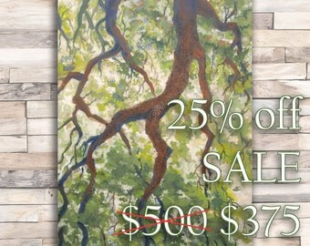 "Tree Drip Original Art 40"" Acrylic Painting on Canvas"
