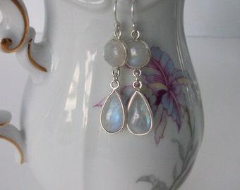 Rainbow Moonstone Earrings Sterling Silver Double Rainbow Moonstone Dangle Silver Earrings Gemstone Drop Earrings Blue Flash Moonstone E0109