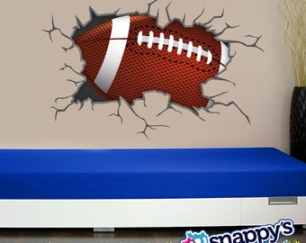 Football Breaking Through, Bursting, Shattering The Wall Decal For Boys Or  Girls Room.