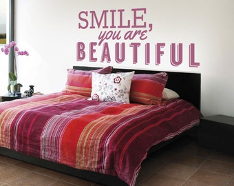 Smile Wall Decal Etsy - Custom vinyl wall decals sayings for bedroom