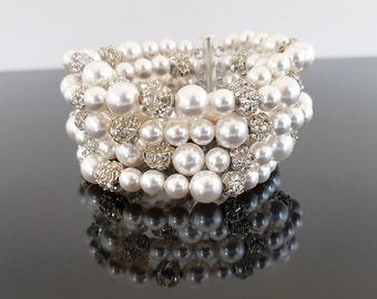 Pearl Cuff Bracelet, Pearl Bracelet, Cuff Bracelet, Bridal Cuff Bracelet, Bridal Bracelet, Bridal Bracelet Pearl, Bridal Pearl Bracelet