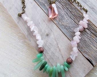 8154JN - Sweet Delia Layered Necklace, pink and green jewelry, aka sorority, rose quartz, aventurine, pink, green, birthday gift, gift idea