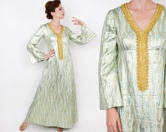 70s Metallic Maxi Dress | Turquoise Gold Metallic Brocade | Medium
