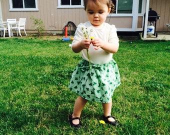 Baby St Patrick Day Skirt, 6 month, Girls, Patty, Shamrock, Green, White, Gingham, Handmade, Cotton, Elastic Waist, Knee Length, Twirl Skirt
