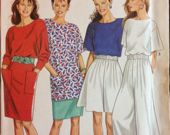 New Look 6430 - Pullover Dress and Tunic and Pull On Pants and Shorts - Size 8 10 12 14 16 18