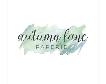 Customizable Watercolor Smudge with Scripty Font Logo Design