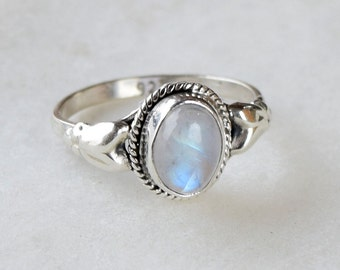 Moonstone Ring, Stone Ring, Moonstone Silver Ring, Silver Ring, Rainbow Ring, Sterling Silver Ring, Moonstone,Size - US 5, 6, 7, 8, 9, 10