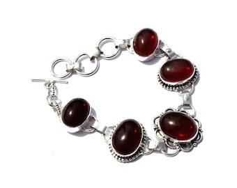5 Stone Bracelet / Red Hydro Quartz Bracelet / Fashion Jewelry, Fashion Bracelet / Gemstone Bracelet / Toggle Bracelet / Handmade Jewelry