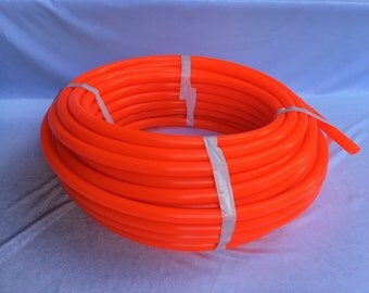 100' 5/8 UV Fire Orange Polypro Coil - 10ft, 50ft, 100ft Coil -Black Light Reactive- Hula Hoop Supplies
