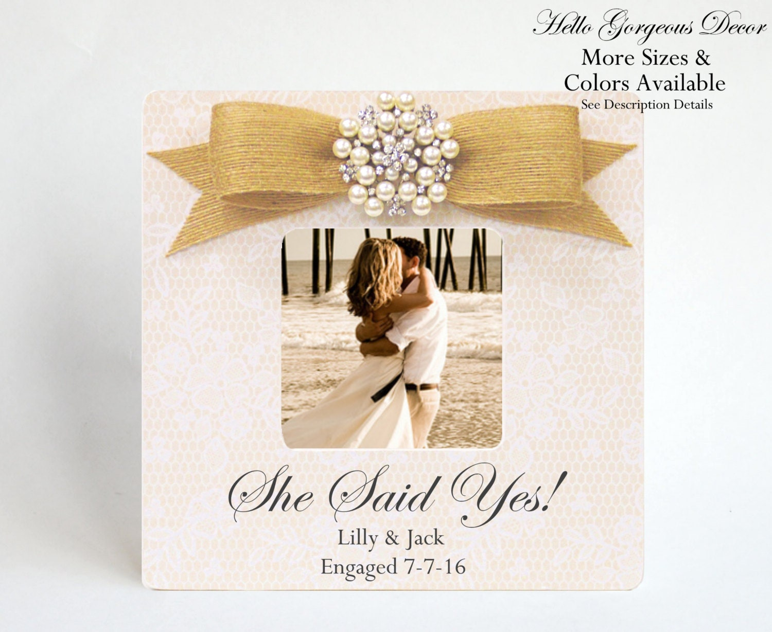 Wedding Shower Gifts For Her: Engagement Gift She Said Yes Picture Frame Personalized