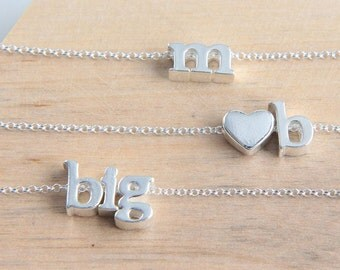 Initial Necklace, Personalized Necklace, Sterling Silver Letter Necklace, Lowercase Alphabet Necklace, Tiny Letter Charm, Gift for Sisters
