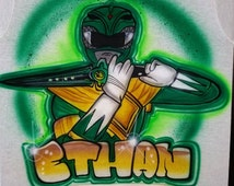 Personalized Custom Airbrushed Green Power Ranger T-Shirt , Airbrushed Green Ranger T-shirt , The Perfect Shirt for You or Your Child