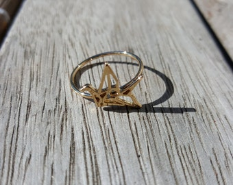 Origami Dove Ring Size 6.5 Gold Silver Rose Gold band Micro Jewelry bird