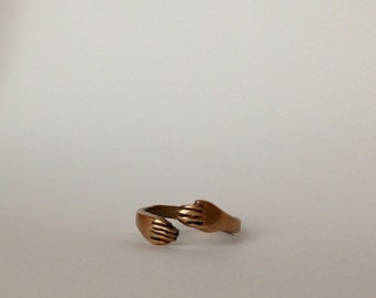 Bronze Hands ring, wrapped hands adjustable ring, READY TO SHIP
