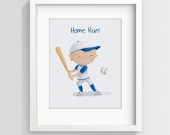 Baseball Boy - Children's Art Prints - Little Boys Room Decor - Baseball decor - Major League - Boys Room Art - Sweet Cheeks Images