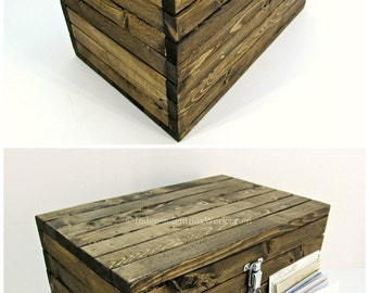 Made to Order: Rustic Wooden Storage Box with Lockable Latch - Small Wood Chest - Medium Accessory Trunk, Small Toy Box, Wedding Card Box