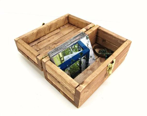 merisier teint rustique bo te en bois coffre petit de la. Black Bedroom Furniture Sets. Home Design Ideas