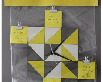 Geometric clock with posted notes