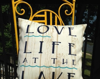 Cream and Navy Blue Outdoor Lake Pillow Cover