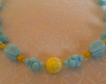 Sunny Yellow Sky Blue Molded Glass Necklace Vintage 1970s...