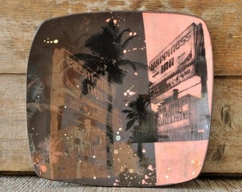 Stoneware decorative plate with VINTAGE MOTEL SIGN hand pulled silkscreen print