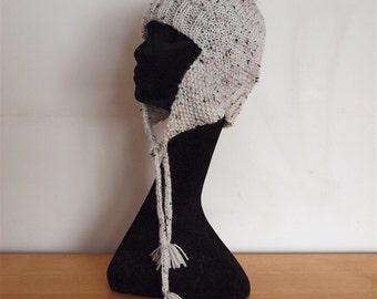 HoeBow Tweed Aran Knit Ski Hat with Ear Flaps