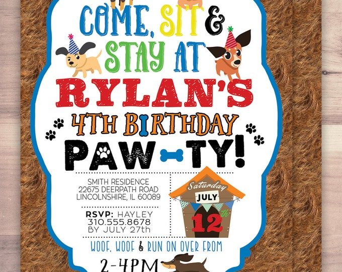 Puppy Party Invitation - Puppy Paw-ty - Paw party, birthday, baby shower, puppy adoption, sit & Stay pawty, Dog birthday, puppy birthday