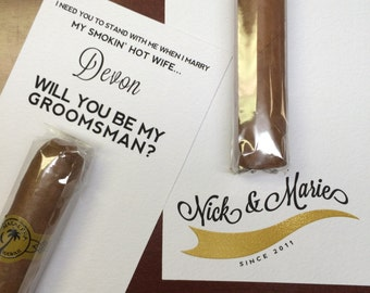 Will You Be My Groomsman Cigar / Custom Cigar Groomsmen / Groomsman Invitation / Cigar for Groomsmen / Asking Best Man Groomsman Proposal