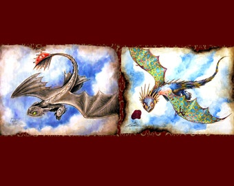 Fly High, Toothless and/or Stormfly Inspired Mixed Media Print, How to Train Your Dragon Inspired, Nightfury