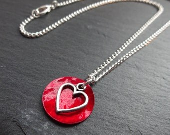 Red Heart Necklace, Mussel Shell, Silver Plated Chain, Charm Necklace, Love Necklace