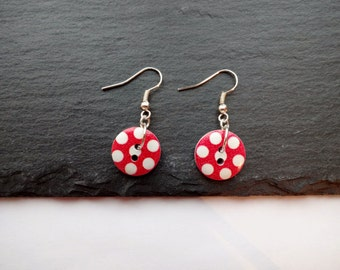 Red Button Earrings, Spotted Red & White Earrings, Polka Dot, Wooden Buttons