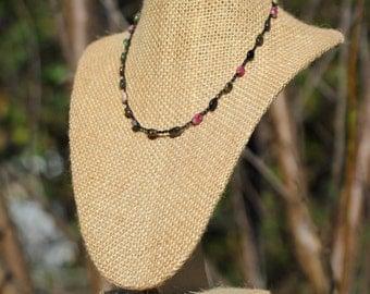 Tourmaline Crochet Choker- Pink, Green, and Black Tourmaline Gemstone Pebble Crocheted Necklace