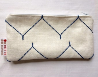 Pouch for makeup, pencil case, toiletries accessories, pouch for baby, travel pouch, Fabric Elegant Blue