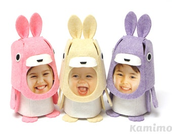 Easter Bunny, DIY Kit, Kids DIY, Photo Flame Animal, Rabbit (Beige/Pink/Violet) , Felt KIGURUMMY