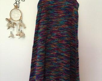 rainbow textured a-line dress
