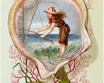 "Vintage Seashell  Image,  illustration of ""Girl pulling on Rope"", Wall Hanging Decor,  Stunning art in any Room,  Nautical Art illustration,"