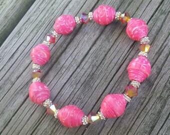 Paper Bead Bracelet, Paper Bead Jewelry, Pink Paper Beads, Pink Swarovski Crystal Beads, Paper Jewelry, Paper Beads Elastic Bracelet