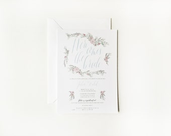 Floral Bridal Shower Invitation or Floral Baby Shower Invitation with Custom Calligraphy