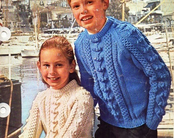 "childrens aran knitting pattern PDF download childrens aran sweater bobble stitch cable 26-30"" aran worsted 10ply childrens knitting pattern"