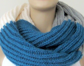 infinity scarves, Gray-White-Teal Scarves, gift for christmas, gift for her, gift for women, christmas gift  /// FORMALHOUSE
