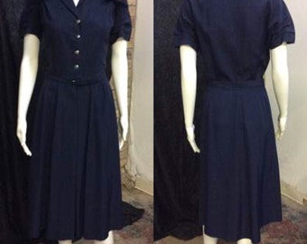 Vintage 1950's Navy Blue Shirt Dress & Matching Belt by Nelly Don