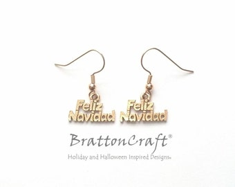 Gold Feliz Navidad Earrings - Christmas Earrings - Holiday Earrings - Holiday Jewelry- Christmas Jewelry - Jose Feliciano - Epsteam