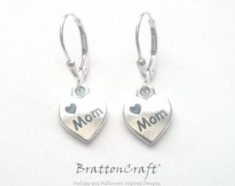 Love Mom Heart Earrings - Mom Heart Earrings - XOXO Earrings - Heart Earrings - Silver Heart Earrings