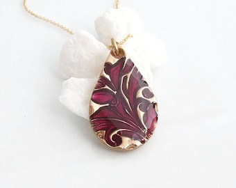 Teardrop Enamel Pendant Necklace, Unique Handmade Bronze Pendant,Plum Cold Enamel,Women's Artisan Jewellery, Bronze Anniversary/Wedding gift
