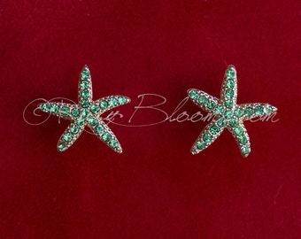 Crystal Green Starfish Earrings. Beach Wedding Jewelry Bridal Accessory Apple Green Star Fish Destination Wedding Ruby Blooms Jewelry