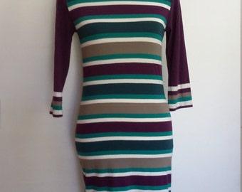 French Connection dress, XS, S, knit dress, tee shirt dress, striped dress, summer dress, fall dress, spring dress, sporty dress