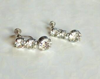 GLAMOROUS Vintage  Clear RHINESTONE EARRINGS / Glamorous Drop Earrings  /  Screw back earrings / Gift Boxed