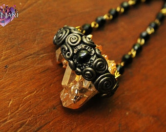 Tangerine Aura Quartz and Black Onyx Necklace